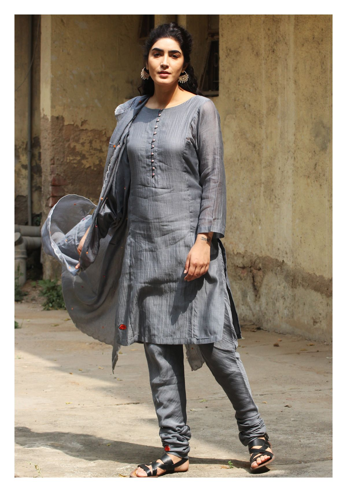 Samiana Powder Grey Kurta Churidar Set