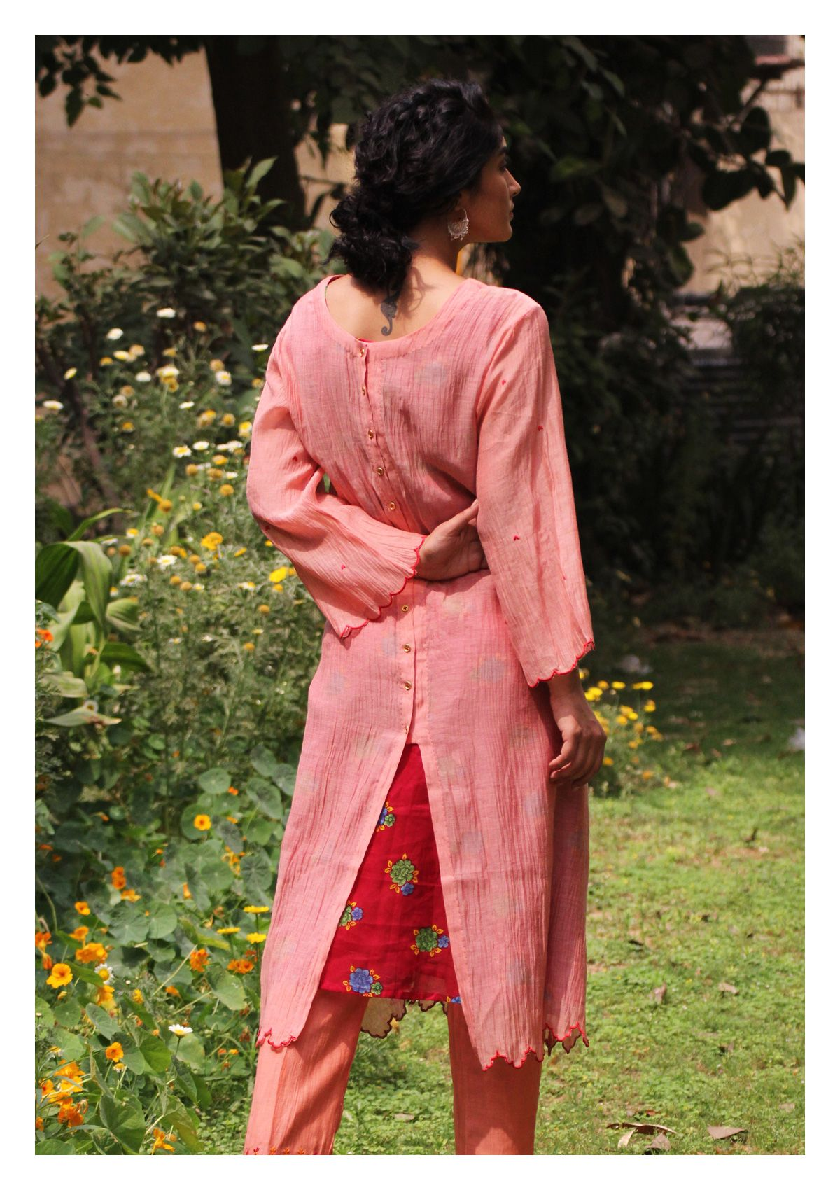 Roosha Peach Chanderi Kurta Pajama Set