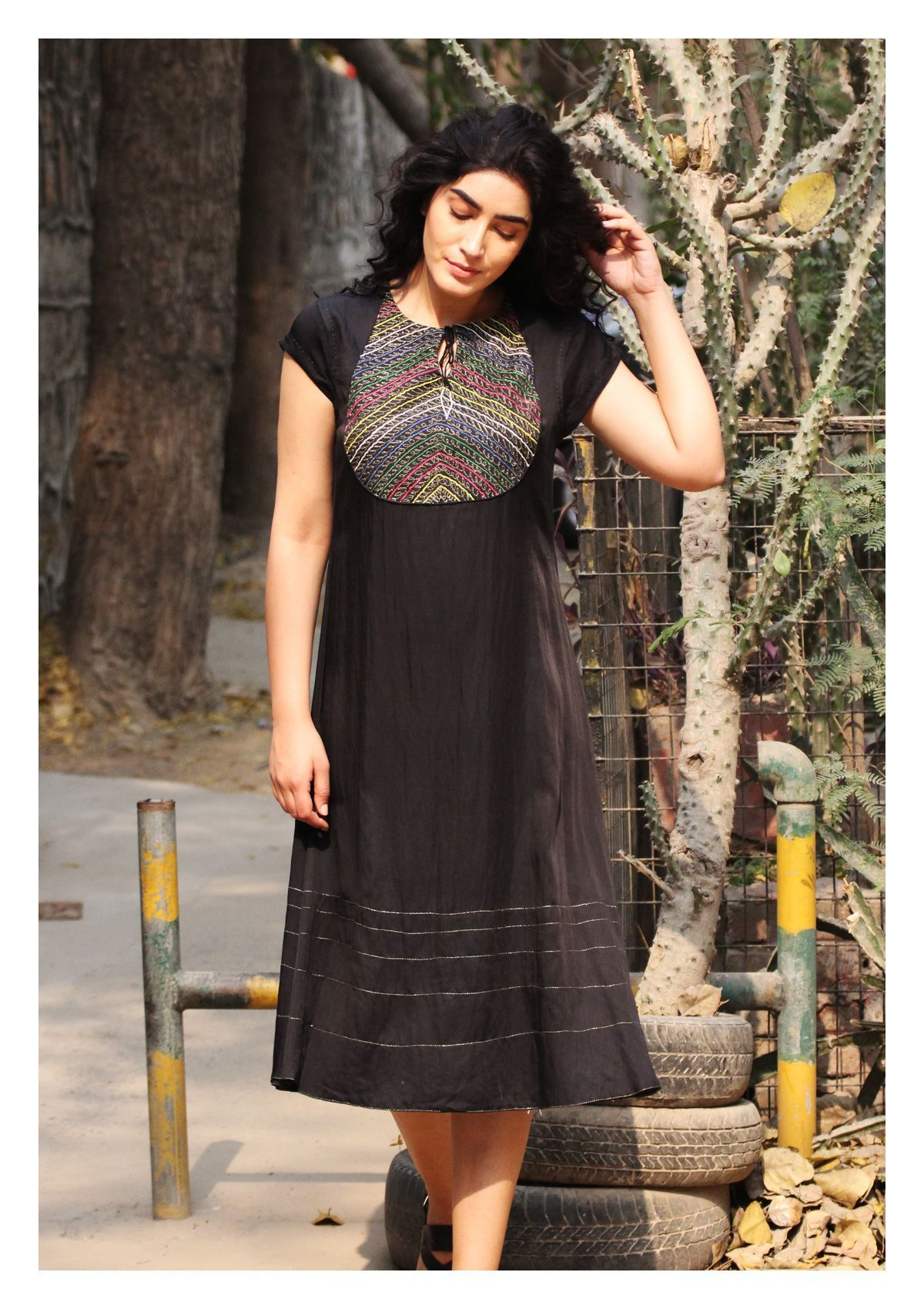 Faria Black Angrakha Chanderi Dress