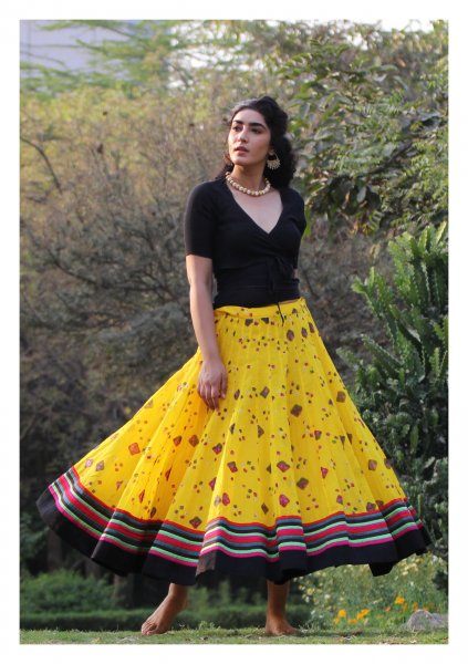 Bindiya Yellow Bandhni Ghagra
