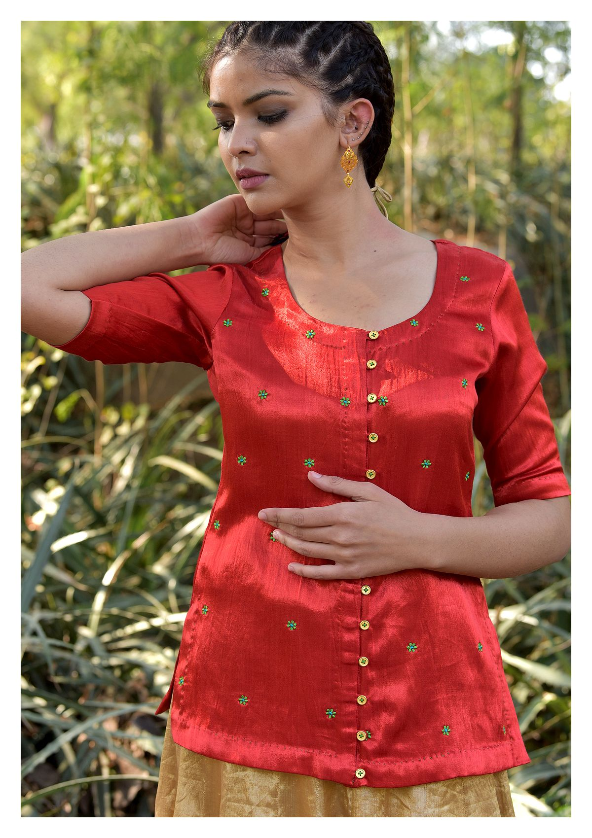 Cupid Red Mashru Blouse
