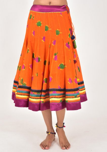 Gajari Orange Cotton kalidaar Skirt