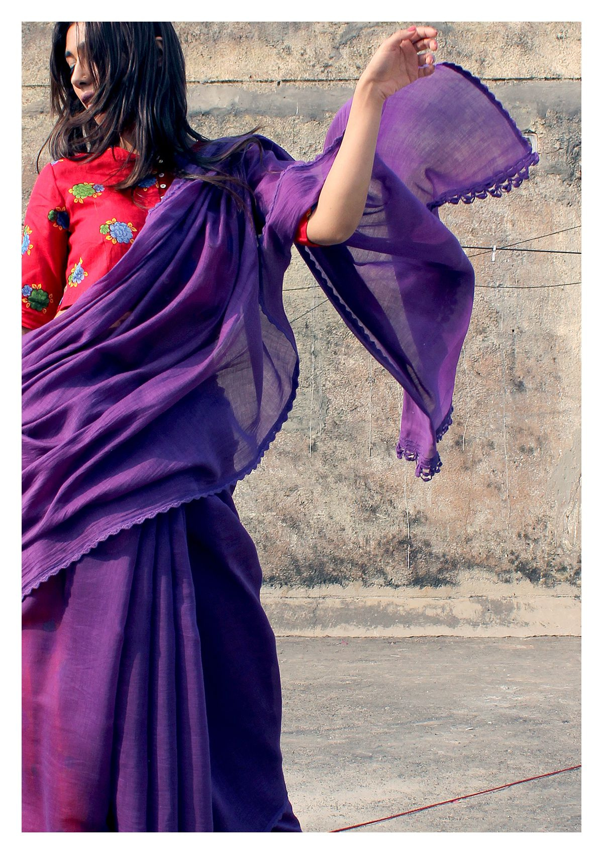 Ganga Purple Chanderi Cotton Saree