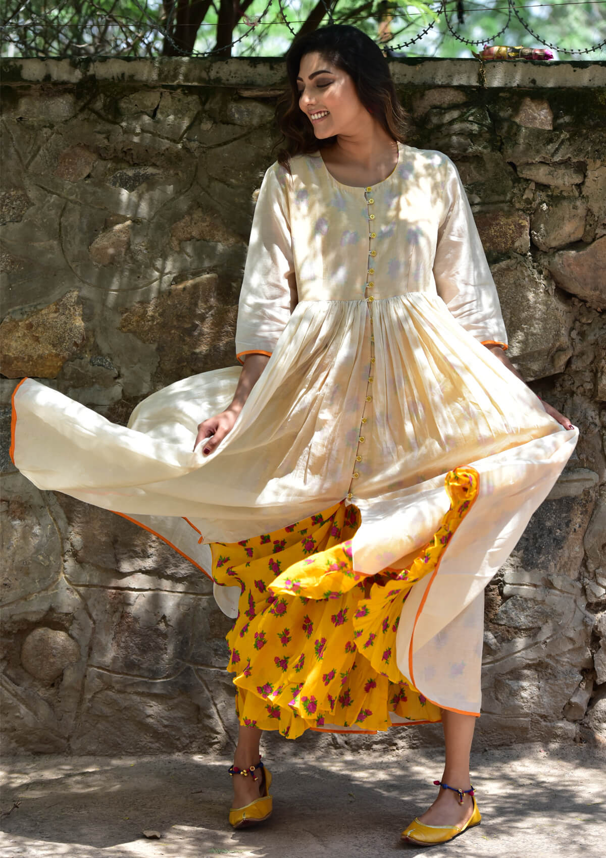Gazia Ecru Chanderi Dress