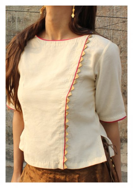 Chandni Tissue Chanderi Gold Blouse