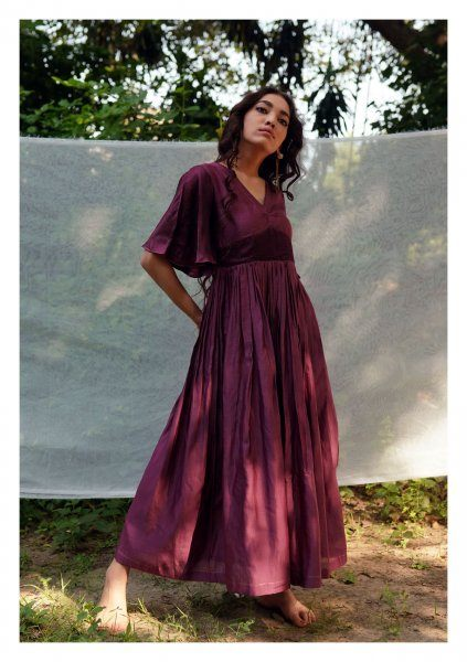Grape Wine Chanderi Dress