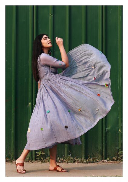 Rooftop Garden Grey Chanderi Dress