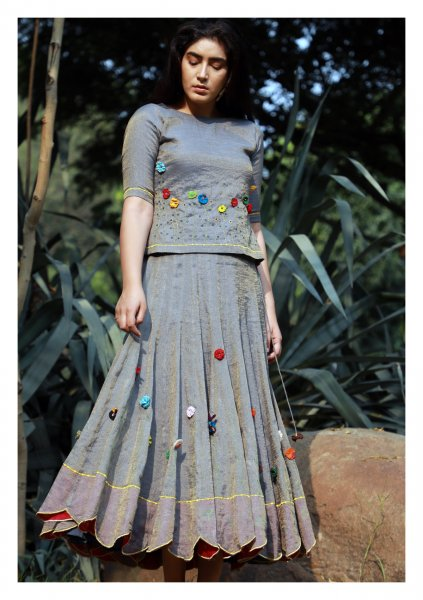 Shangrila Grey Gold Skirt Blouse Dupatta Set