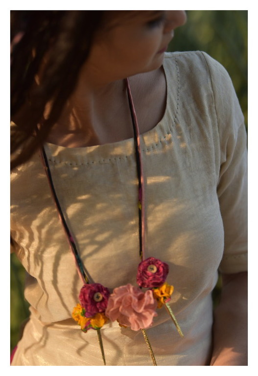 Wildcharm Floral textile Necklace