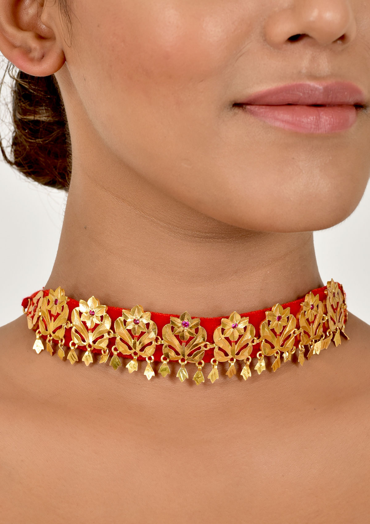 full red chain handmade designer coral gold necklace at plated