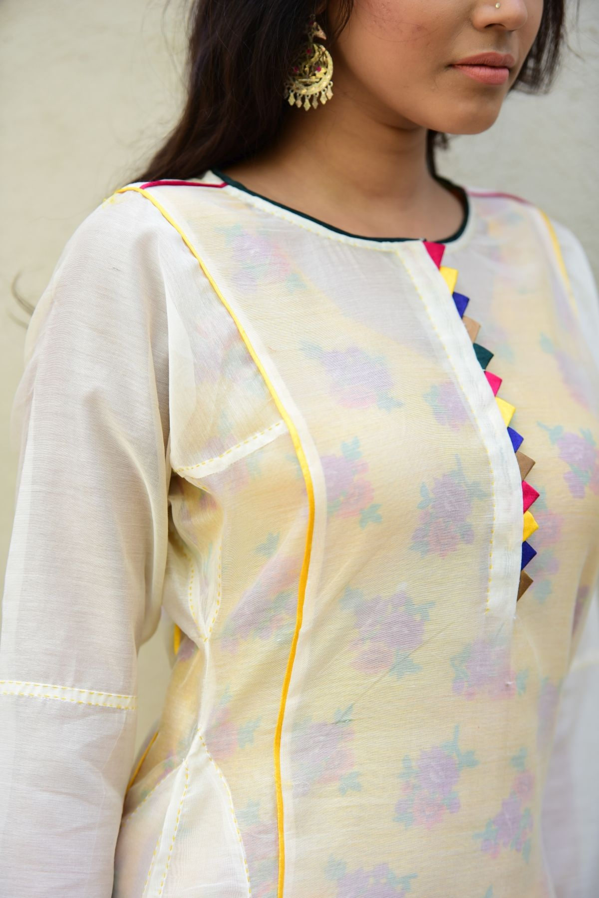 Gunia Off white Chanderi Long Kurta