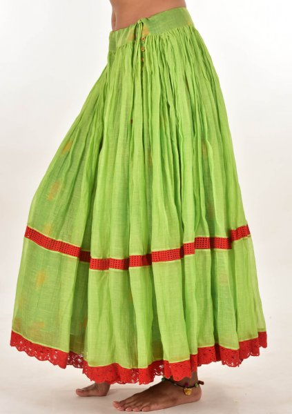 Haaria Green Reversible Chanderi Cotton Skirt