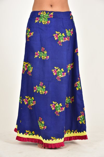 Heer Blue Flower Print Cotton Peticot