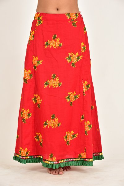 Heer Red Flower Print Cotton Peticot