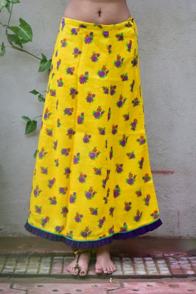 Heer Yellow Flower Print Cotton Peticot