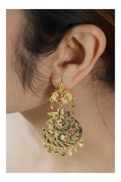Bindiya Handmade Gold tone Silver Earrings