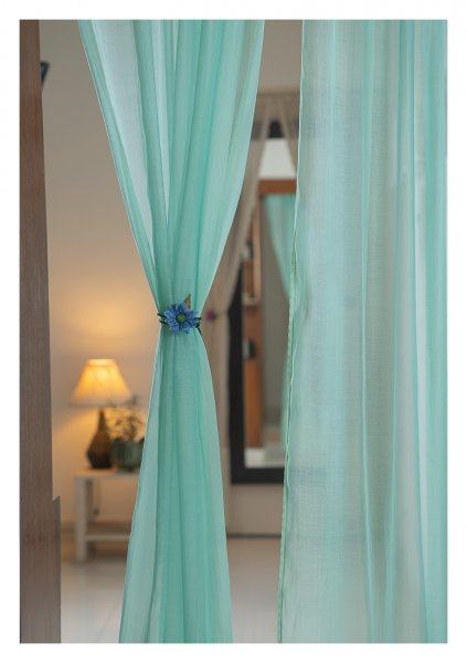 Jade Green Chanderi Sheer Curtains- Set of 2