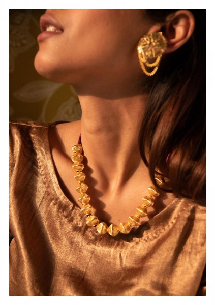 Dholaki Handmade Gold Tone Silver Necklace