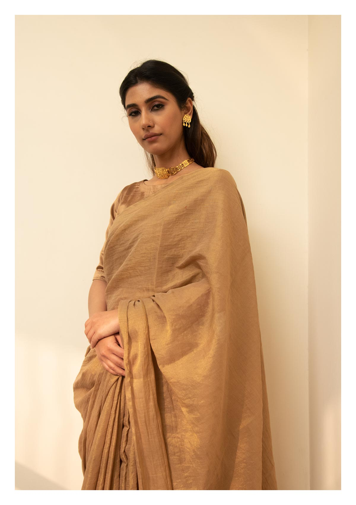 Tara Handmade Brown Chanderi Tissue Saree