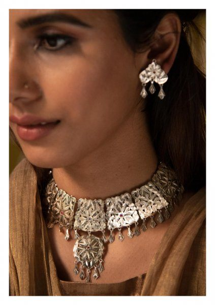 Nadiya Handmade Silver Necklace & Earrings Set