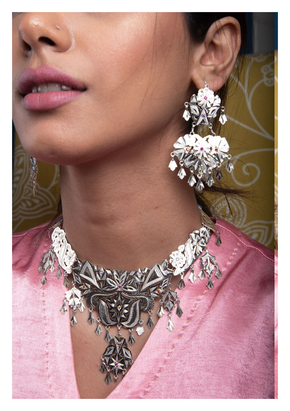 Surayu Handmade Silver Necklace & Earrings Set