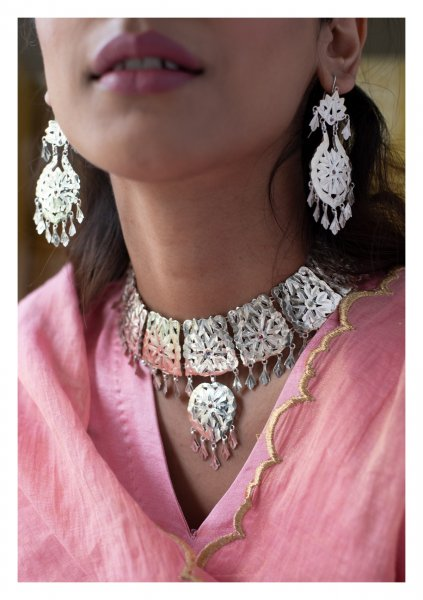 Nagma Handmade Silver Necklace & Earrings Set