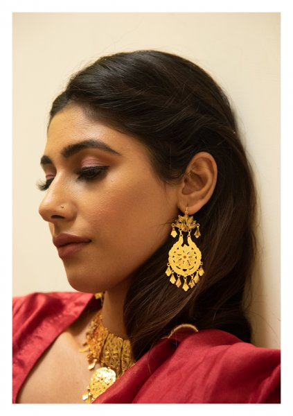 Nagina Handmade Gold Plated Silver Earrings