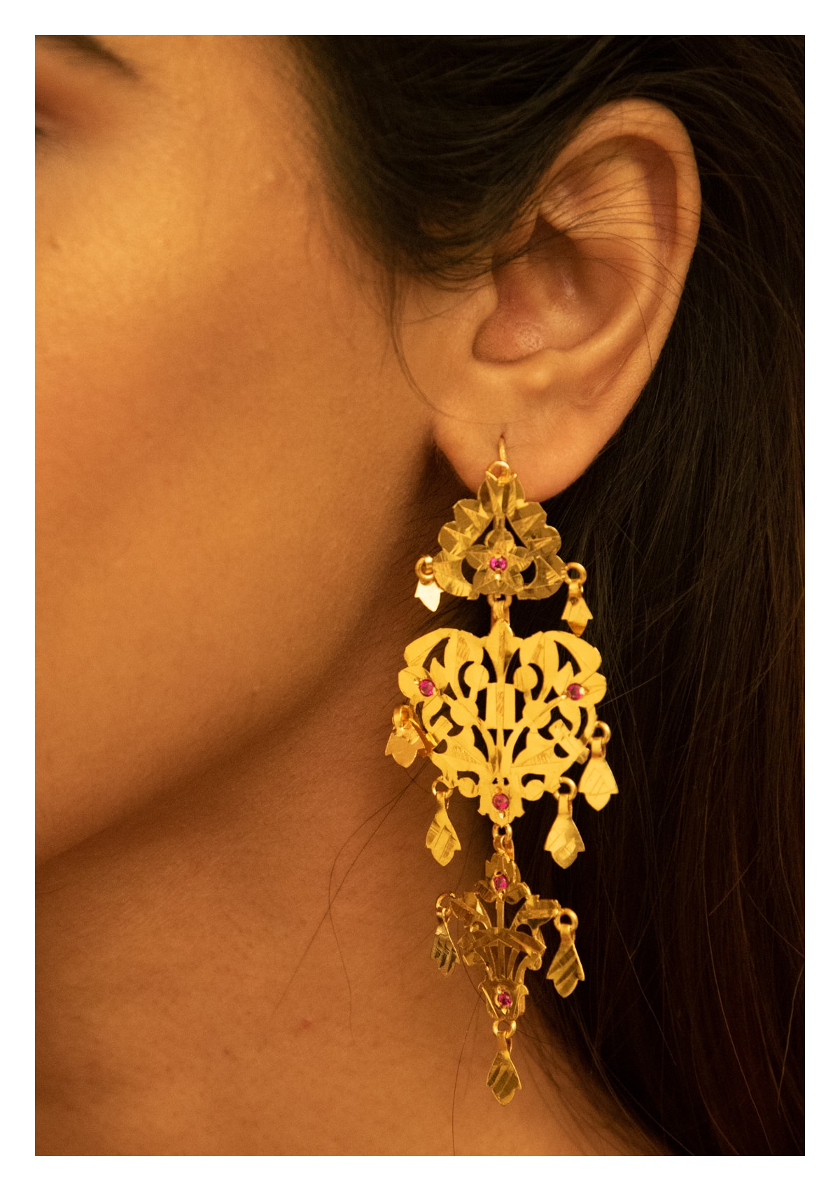 Saira Handmade Gold Tone Silver Earrings