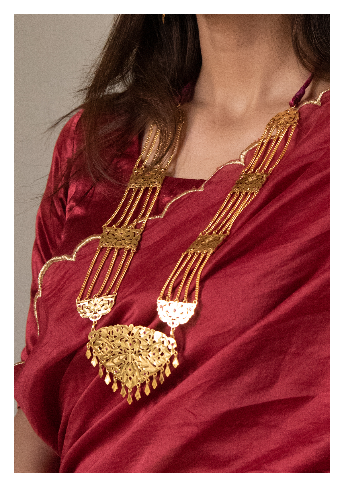 Rani Handmade Gold tone Silver Necklace and Earrings Set