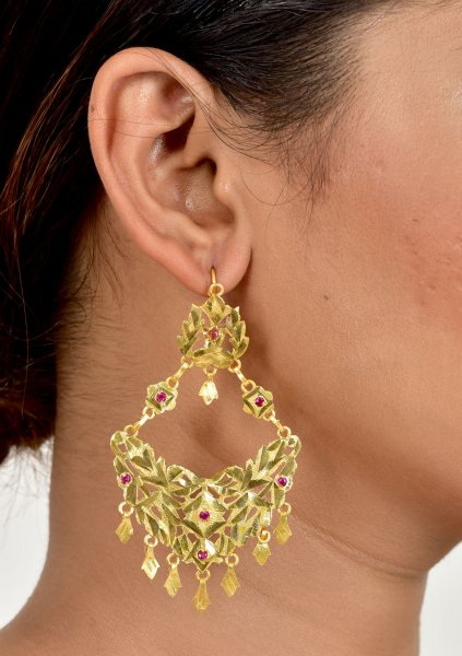 Jhoomar handmade gold tone silver earrings