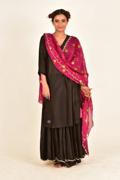 Kaner Pink Flower Print Scalloped Cotton Dupatta