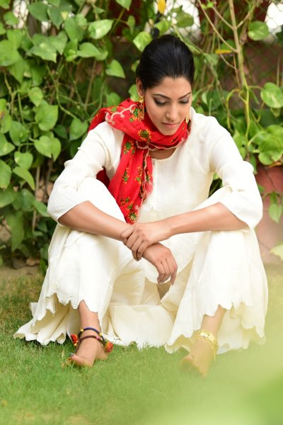 Kori Off white Scalloped Cotton Sharara