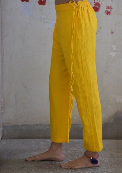 Koti Yellow Straight Cotton Pant