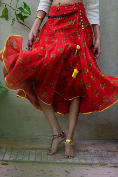 Laali Red Flower Print Flared Cotton Skirt