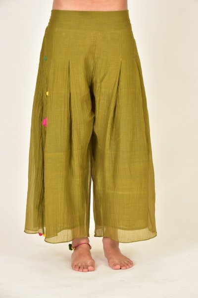 LEENA GREEN CHANDERI BOX PYJAMA