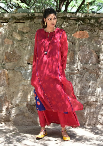 Maahia Mehroon Chanderi Kurta Skirt Set