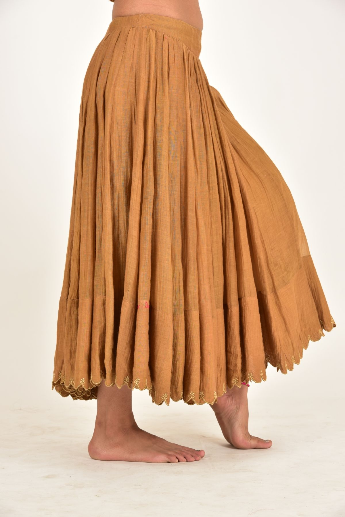 MAITRI BROWN CHANDERI GATHERED SKIRT