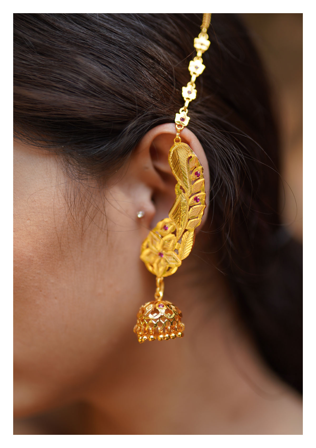 Maheen Handmade Goldtone Silver earrings