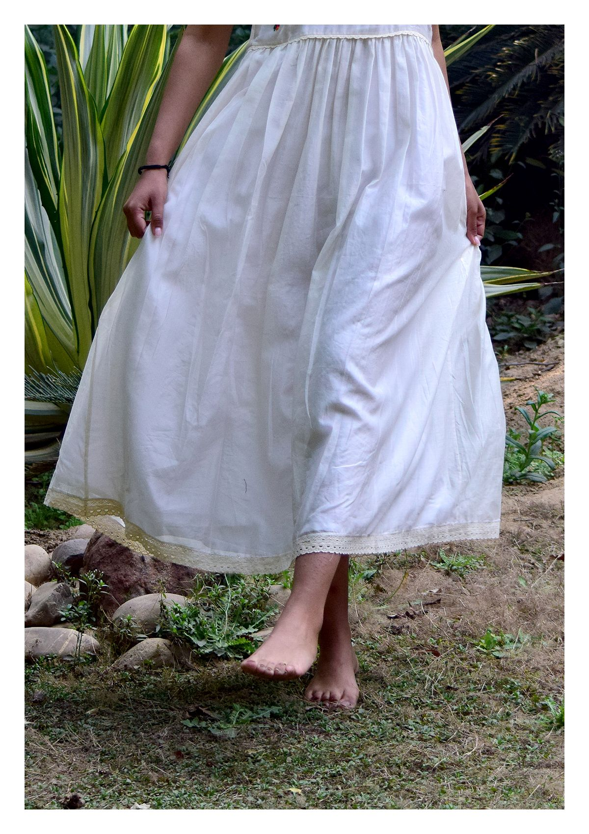 Marisa White Cotton Chanderi Dress