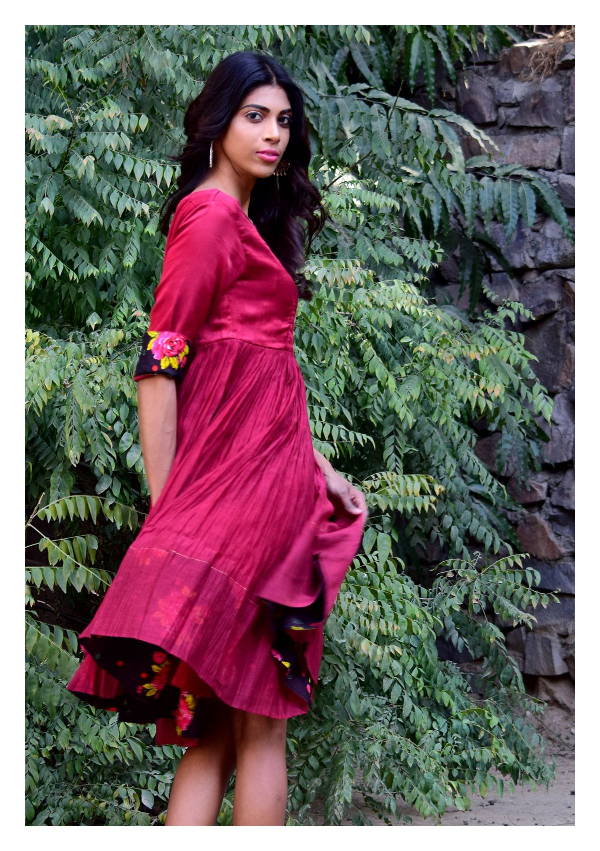 Baati Mahroon Chanderi Cotton Dress