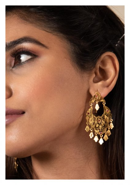 Raniya Handmade Gold Tone Silver Earrings
