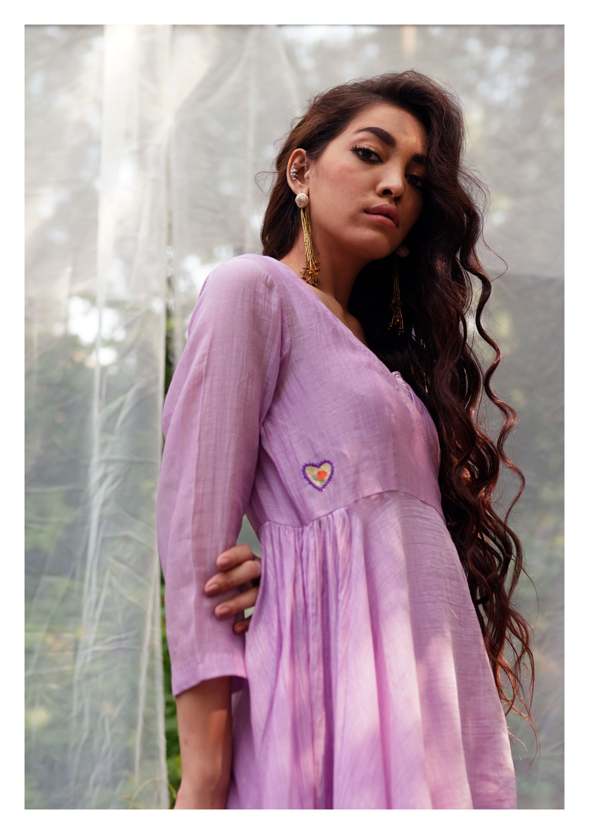 Maulsari Lavender Chanderi Dress