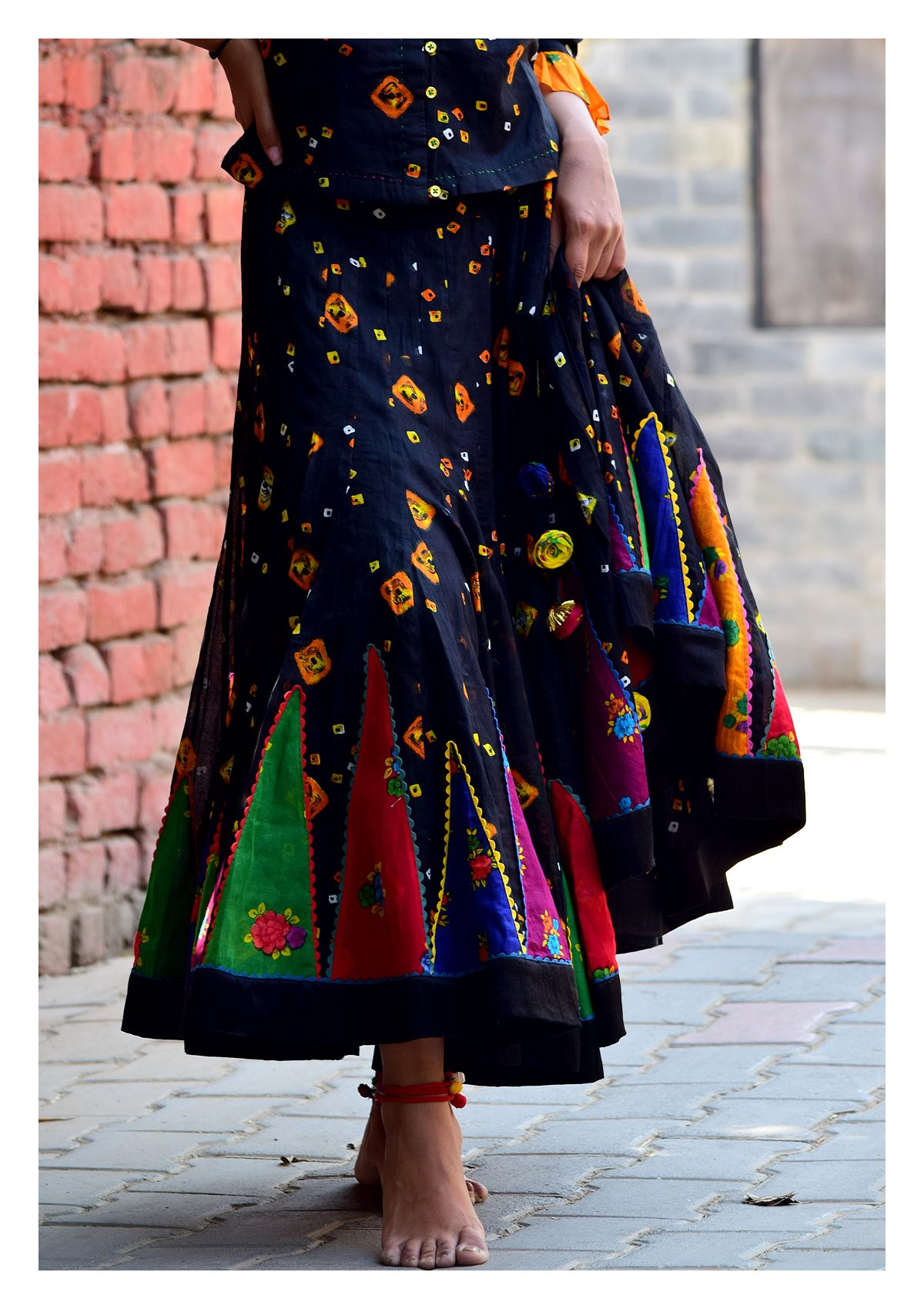 Timtima Black Bandhni Skirt