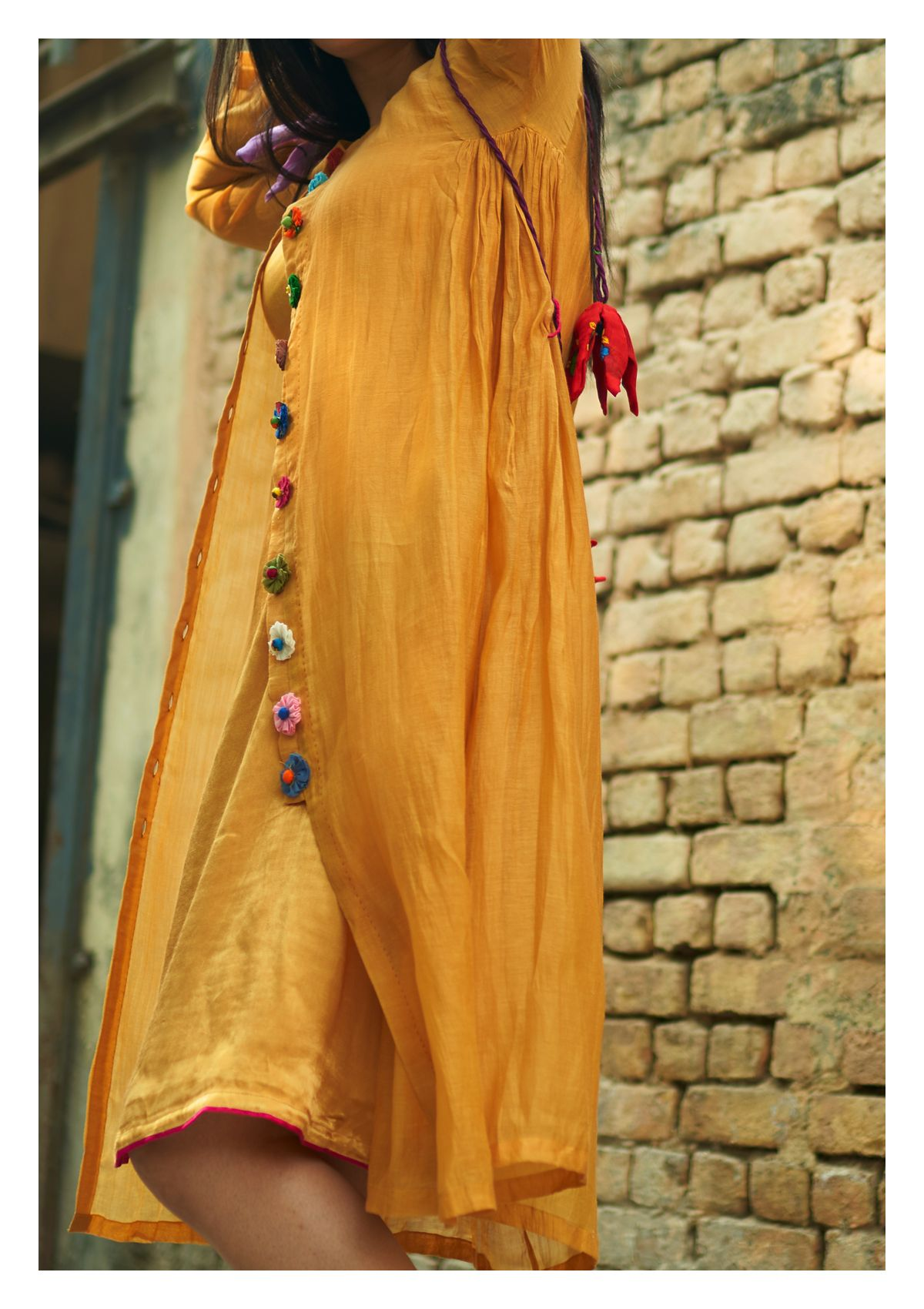 Windlass Mustard Chanderi Dress