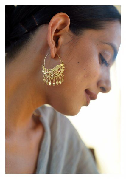 Bansi Handmade Gold Tone Silver Earrings