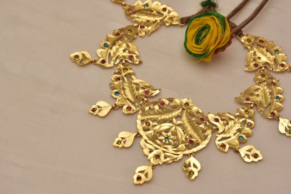 Nadia Handmade Gold tone Silver Necklace