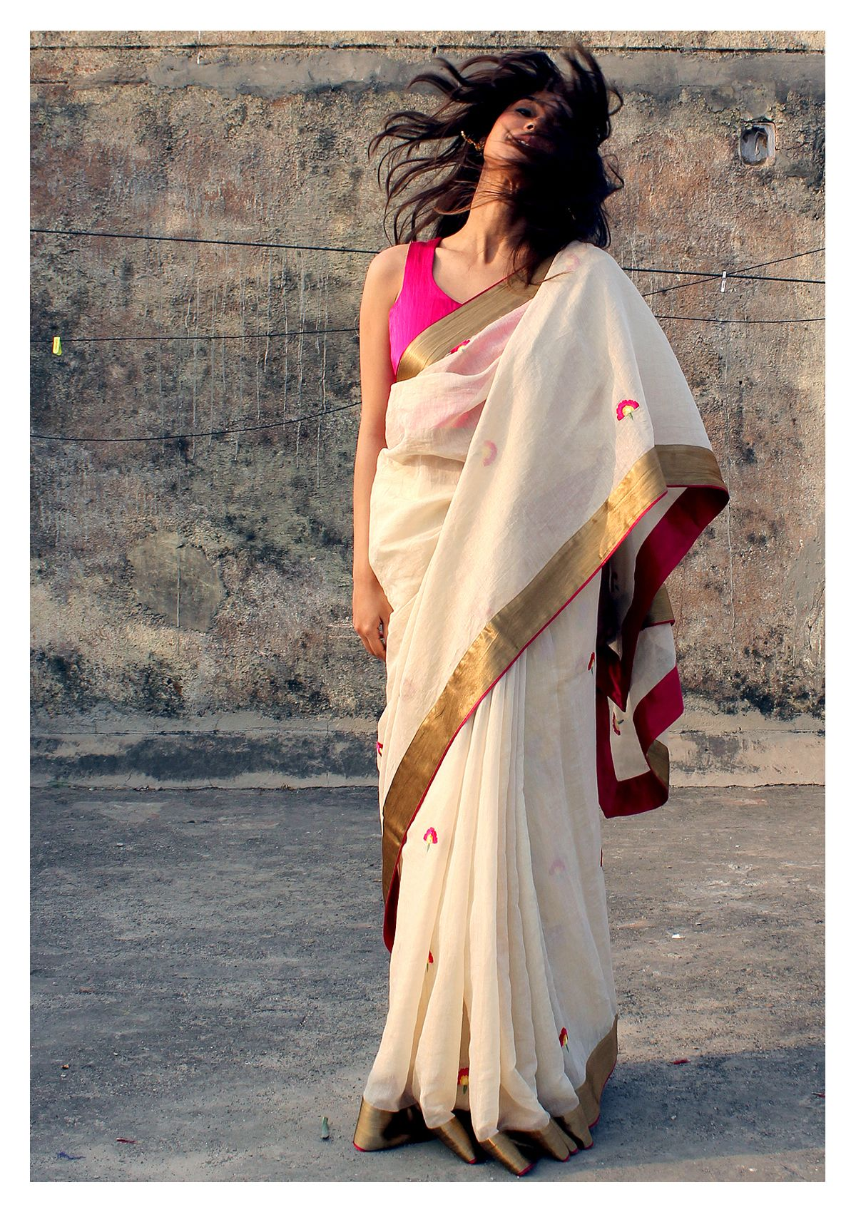 Gandak Gold Tissue Chanderi Saree