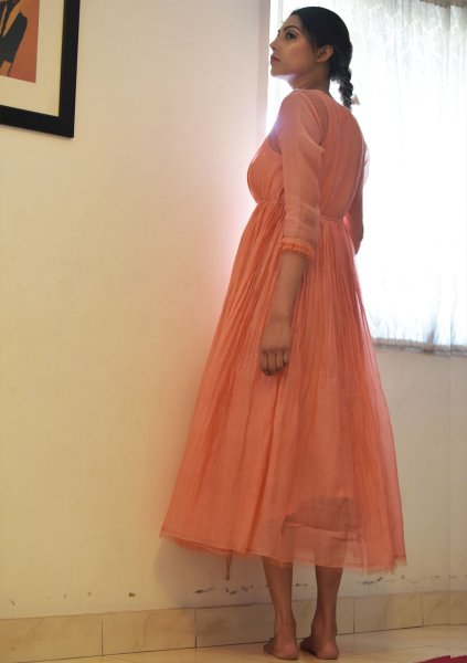 Nahara Peach Double Layered Chanderi Maxi Dress