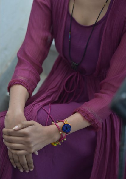 Nahara Purple double layered Chanderi cotton Maxi Dress