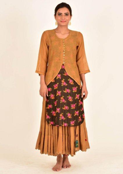 Narayani Brown Tissue Chanderi Kurta, Skirt &  Silver Earrings Set